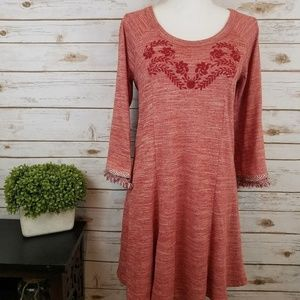 Skies Are Blue Red Embroidered Dress NWOT